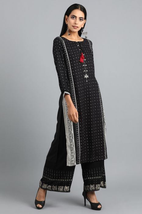 black-mandarin-neck-printed-kurta
