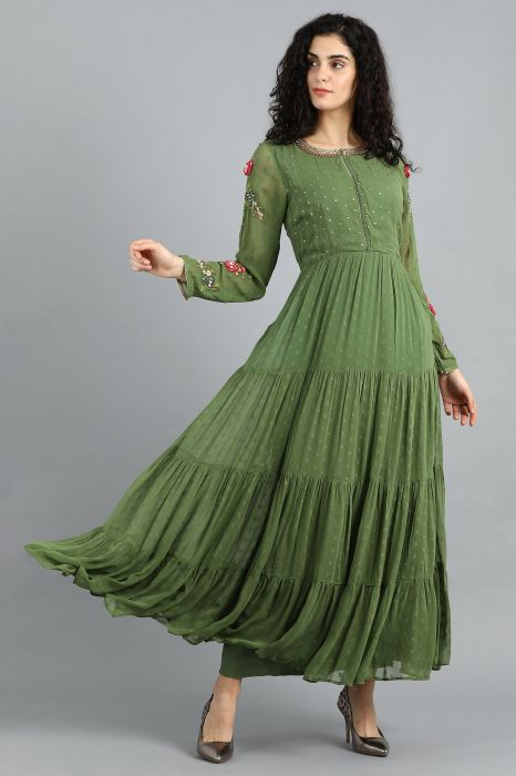 green-round-neck-flared-dress