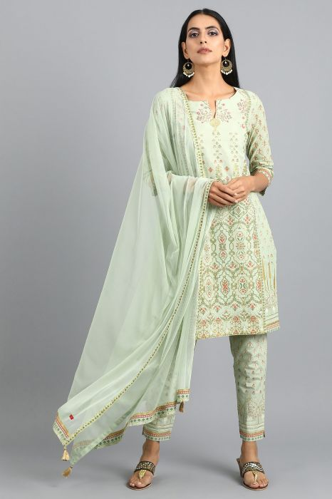 green-round-neck-printed-kurta-set