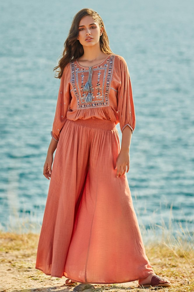Peach Embroidered Jumpsuit