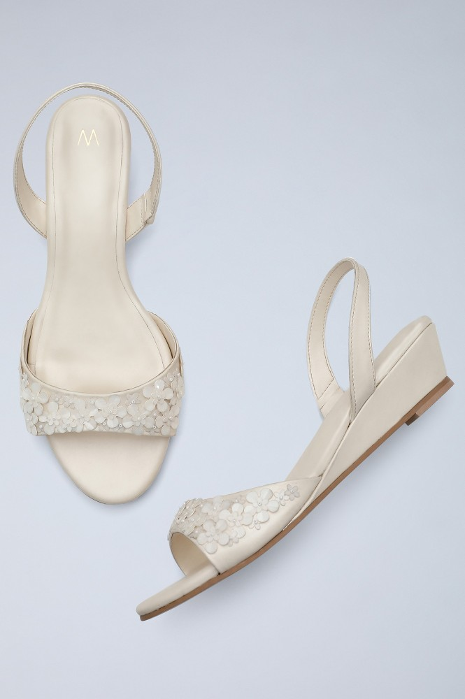 Off-White Almond Toed Wedges-WFlora