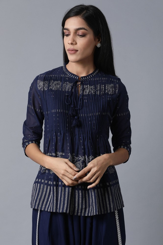 Navy Blue Pleated Top