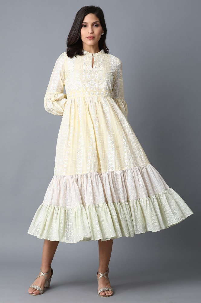 Soft Multicolored Tiered Voile Dress